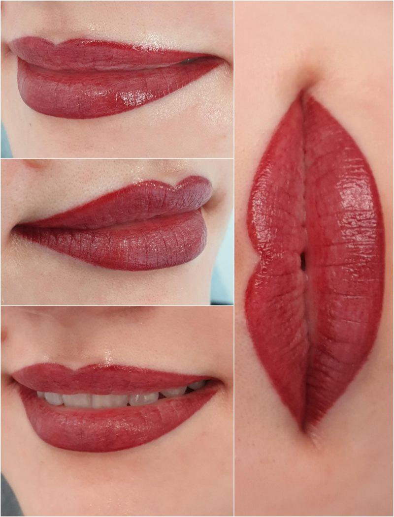 Makijaż permanentny ust bezpośrednio po zabiegu