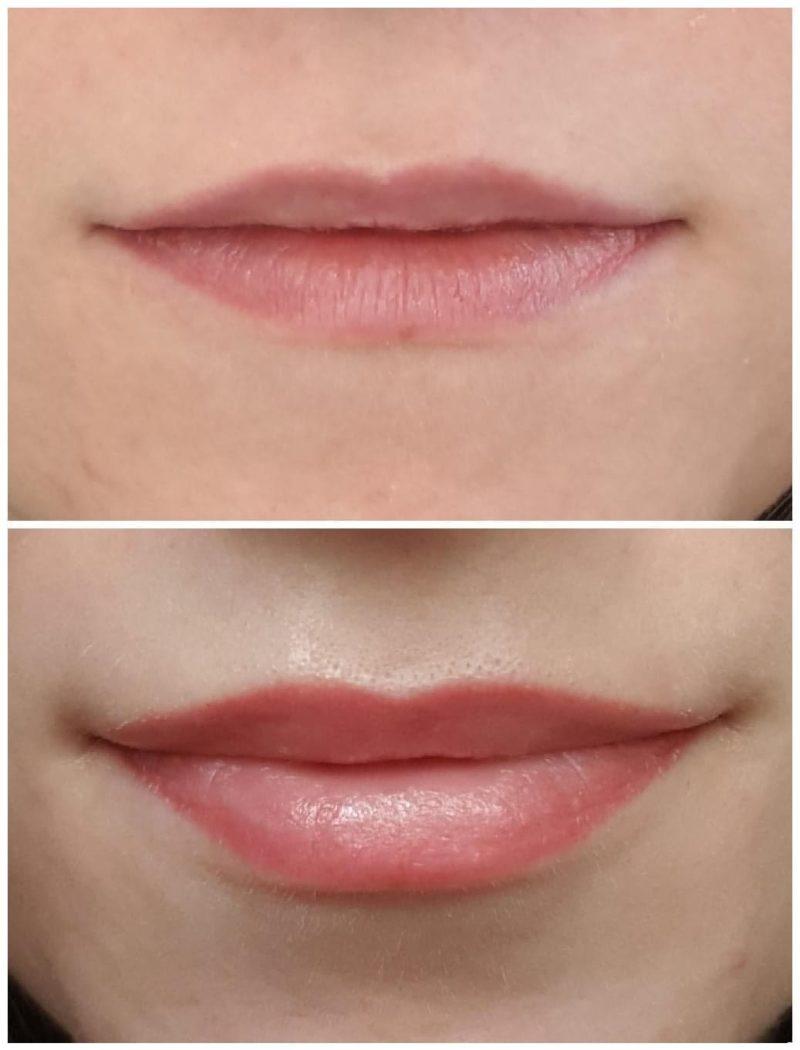 Usta delikatnie powiększone makijażem permanentnym