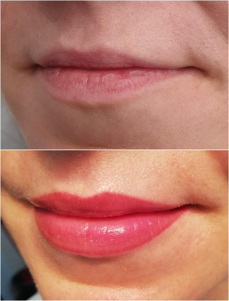 Wygojone usta po dwóch zabiegach makijażu permanentnego
