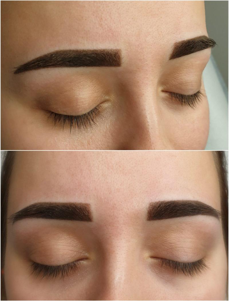 Makijaż permanentny brwi bezpośrednio po zabiegu